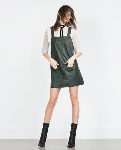 Zara green leather pinafore