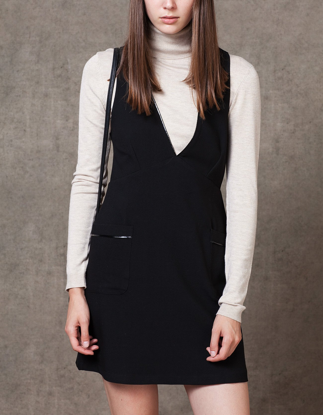 Stradivarius Black deep neck pinafore